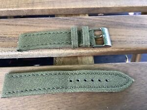 Breitling Green Canvas 106W 22mm strap with Tang Buckle 100% Authentic