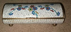 ANTIQUE ASIAN ENAMEL CLOISONNE DIVIDED JEWELRY TRINKET BOX