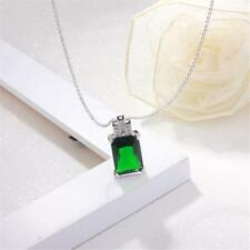 Natural Grassland Green Glass Gemstone Pendant Necklace Charming Accessories