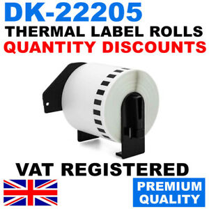 CONTINUOUS THERMAL LABELS FITS BROTHER DK22205 DK-22205 P TOUCH PRINTERS - 62mm