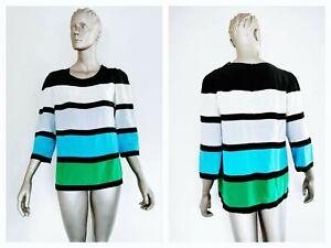 SONIA BY SONIA RYKIEL Womens Silk Colour Block Long Sleeve Top Size 44 (AUS 12)