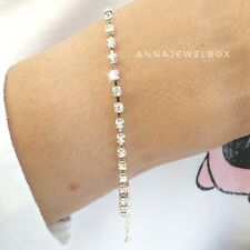 Silver Cubic Zirconia CZ Crystal Tennis Bracelet Bangle Bridal Birthday Gift Bag