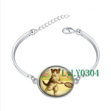 tennis player cat glass cabochon Tibet silver bangle bracelets wholesale