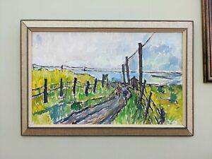 VINTAGE MID CENTURY FRAMED EXPRESSIONIST OIL PAINTING - CYCLING ALONG