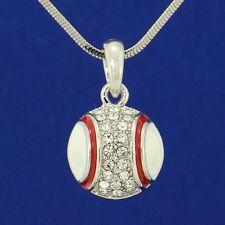 W Swarovski Crystal Baseball Softball Ball Team Player Pendant Necklace