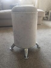 Silver Crushed Velvet dressing table stool Seat Diamante listing11