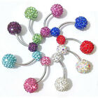 NEW Navel Belly Button Ring Barbell Rhinestone Crystal Ball Piercing Body