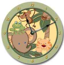 Nursery Wall Clock ZOO JUNGLE - includes Tiger, Elephant, Monkey, Frog