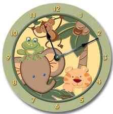 Nursery Wall Clock ZOO JUNGLE -  includes Tiger, Elephant, Monkey, Frog