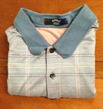 Callway Golf Collection Blue, Beige, & Pink Plaid Polo XXL Cotton *USED*