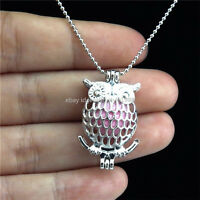 STK17 Silver Animal Owl Locket Necklace Women Beads Chain Pearl Cage