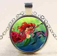 Glass Chain Pendant Necklace #1865 Mermaid and Dolphin Cabochon Tibetan silver