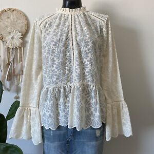 Medium Tilly's Lumie Ivory Embroidered Cut Out Eyelet Bell Sleeve Blouse Top
