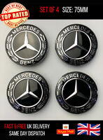 Set of 4 BLACK Mercedes Benz Alloy Wheel Centre Caps 75mm Hub Badges