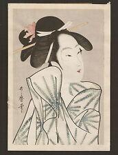 vtg mid 20th c Japanese woodblock after Chokosai Eisho / Bijin - Geisha - Beauty