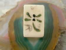Vintage Sterling Silver Chinese Bovine Bone Dragonfly Tile Inlay Ring Sz 8
