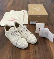 Christian Louboutin White Louis Junior Spikes Sneakers 43 10 1130573 3047 CL