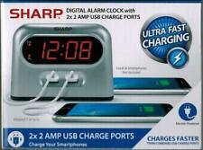 Sharp Bedside Alarm Clock with 2 Rapid Charge USB Phone Charging Ports US Seller