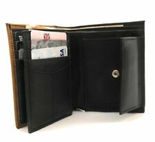 MENS SOFT LEATHER TRIFOLD WALLET 12 CREDIT CARD SLOTS AND BLACK AND TAN COLOR