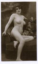 c.1930's FRANCE VINTAGE NUDE - SITTING ON A SOFA
