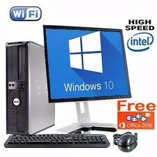 "DELL DUAL CORE 1TB HDD DESKTOP TOWER PC 17"" TFT COMPUTER WITH WINDOWS 10 WiFI"