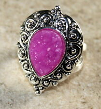 SILVER Vintage Style Pink Red Titanium Druzy Teardrop 10x14mm Ring Size 9.75