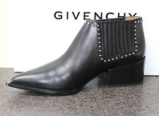 NIB GIVENCHY STUDDED POINTY BLK LEATHER PULL ON ANKLE BOOTIES BOOTS Shoes 37.5