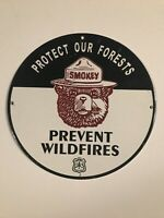 """1951 VINTAGE STYLE SMOKEY THE BEAR PORCELAIN SIGN """"PROTECT OUR FORESTS""""12 Inch"""