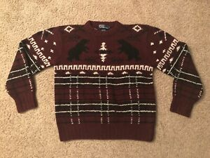 NICE VINTAGE RALPH LAUREN POLO BEAR HAND KNITTED WINTER SWEATER SIZE M SKI SNOW