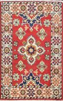 Vegetable Dye Super Kazak Oriental Area Rug Hand-Knotted Traditional Carpet 2x3