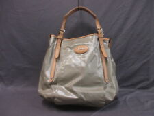 Auth TOD'S G bag LightGray Beige Coated Canvas &  Leather Tote Bag