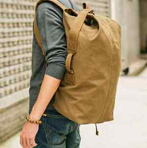 Large Volume 16OZ Durable Canvas Backpack Travel Carry Bag Gym Hiking Duffle Bag