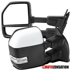 For 1999-2016 Ford F250 F350 Chrome Power Heated Towing Mirrors+Clear LED Signal