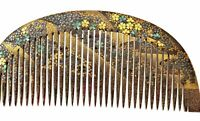 1930's Japanese Makie Lacquer Mother of Pearl Carved Carving Hair Comb Kushi