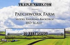 "Train Junkies HO ""Patchwork Farms""  Backdrop 120""x18"" C-10 Mint-Brand New"