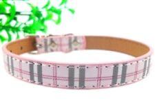 Hundehalsband Leder Halsband Luxus Rosa Plaid Hundezubehör Schick M NEU OVP