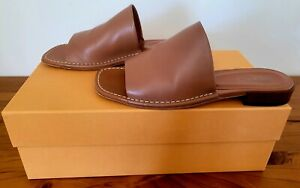 Tod's Classic Runway Stitched Brown Leather Slides 38.5