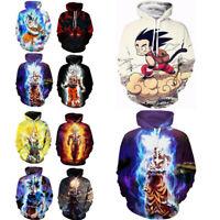 Anime Dragon Ball Z Hooded Goku 3D Print Fashion Hoodie Sweater Pullover Top US