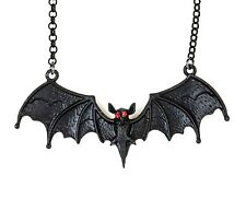 Bat Pendant Sexy Necklace Industrial Gothic Style Red Stone Eye