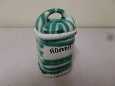 GMUNDNER Keramik GEWÜRZDOSE mit Deckel grün geflammt KÜMMEL