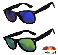 NWT Retro Polarized Sunglasses Square Classic Harper Mirror Lens Black Frame