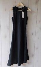 NWT $295 DKNY Stretch Wool Sleeveless Asymmetric Midi Dress Fit & Flare 2 XS