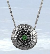 """Sterling Silver Urchin Pendant with Maine Green Tourmaline - 18"""" Sterling Chain"""