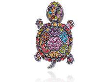 Colorful Rainbow Lovely Sea Turtle Tortoise Crystal Rhinestone Silver Tone Ring