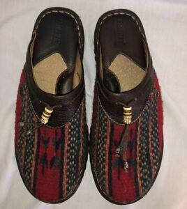 Born Clogs Women's Size 8 EU 39 Wool Leather Aztec Indian Blanket Slip-on Mules