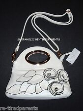 PURSE - HAND - SHOULDER – IVORY w/ BLACK OUTLINED FLOWERS & LEAVES – NWT $32