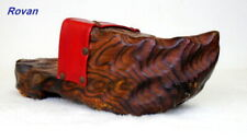 Vintage Dutch Wooden Single Shoe Clogs Old Hand Carved Brown Wall Decor A 00004000 rt