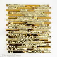Fliesen Mosaik Mosaikfliese Alu  Glas Mix gold 8mm Küche Bad WC NEU #463