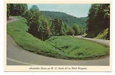 Vintage West Virginia WV postcard~Horseshoe Curve~US Rte 50~postmarked Oct 1972?