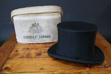Tress & Co Vintage Silk Black Top Hat UK Size 6 3/4 Small + Box 1930s
